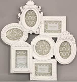 white satin multi photo frame for 7 pictures - Multi Picture Photo Frames