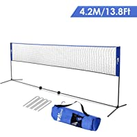 amzdeal 4,2m Filet de Badminton/Tennis, Réglable en Hauteur 1,5m Max, Filet Portable en Nylon avec Support Pieds pour Badminton, Volley-Ball, Tennis