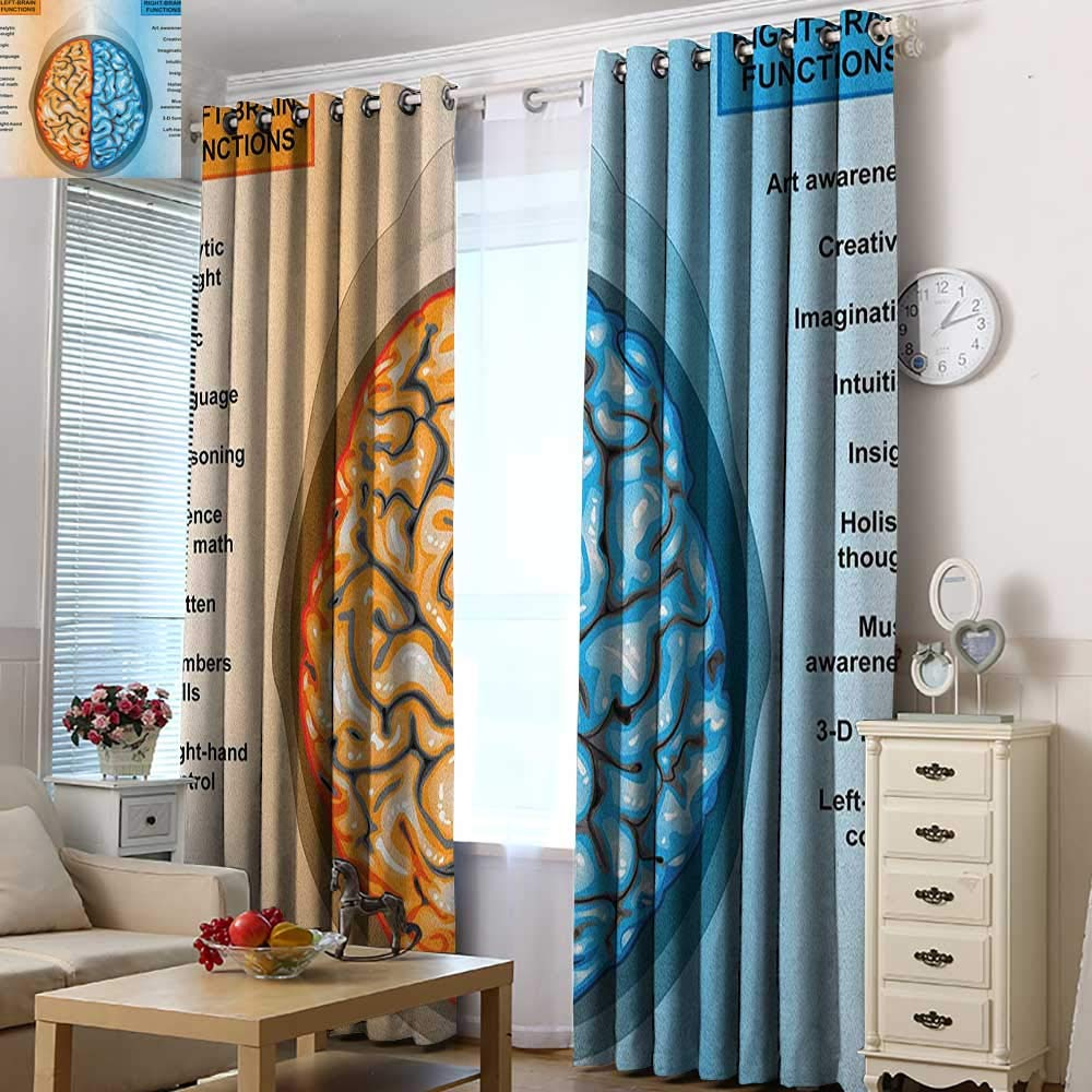 Acelik Extra Wide Patio Door Curtain Educational Human Brain Left and Right Functions List Mentality Intellect Neurology for Bedroom Grommet Drapes 72'' W x 96'' L Pale Blue Orange