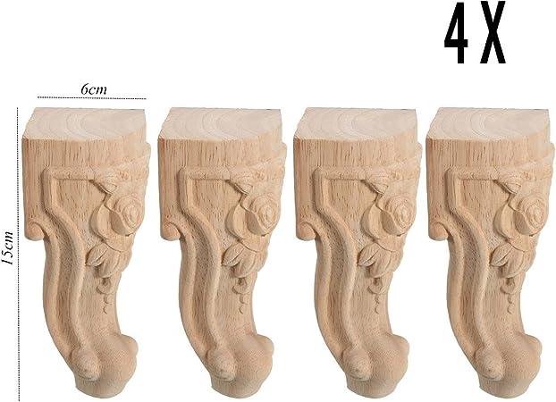 Jeteven 4 Pcs Pieds de Meuble en Bois Massif Vintage Bois Sculpt/é Remplacement pour Canap/é Table Lit 10 x 5cm