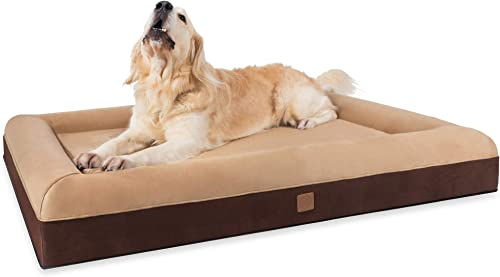 Orthopedic Dog Bed – Extra Large Memory Foam Dog Bed with Sturdy bolsters for Older Dogs or Reduced Mobility, Machine Washable, Water Resistant Lining and YKK Zippers, Faux Suede, Skin Contact Safe