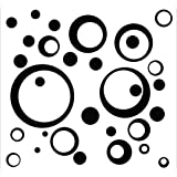 Black Wall Vinyl Sticker Decal Circles, Rings, Dots 25+pc 11in Large Home Décor