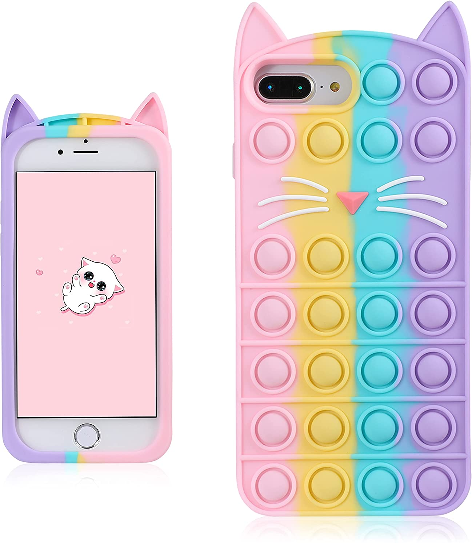 Coralogo Color Cat Case for iPhone 6 Plus/6S Plus/7 Plus/8 Plus Cartoon Funny Kawaii Cute Silicone Cover Fidget Unique Design Aesthetic for Girls Boys Kids Cases(for iPhone 6/6S/7/8 Plus 5.5