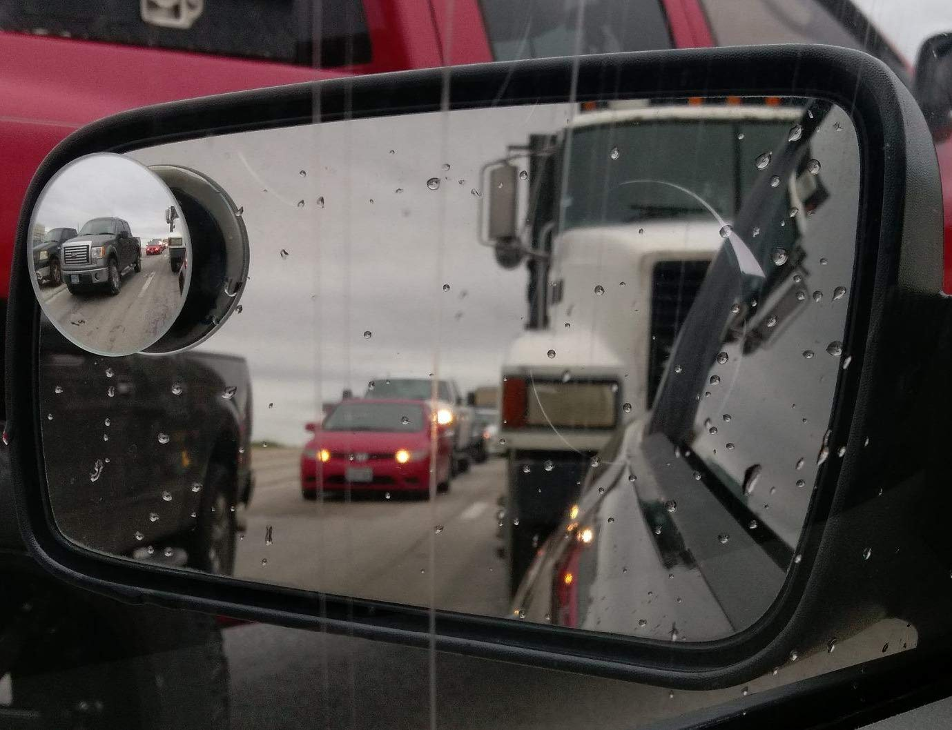 HD Glass Convex Mirror Seamlessly Contours to Your Cars Side Mirror Rhombus 4 Blindspot Mirror by Safe View Company Safer Lane Changes 63x50mm 2 Pack Frameless Design Easy Installation