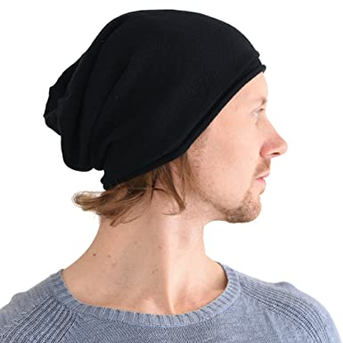 c59a608b2b7c3 CHARM Organic Cotton Stretchy Beanie Made in Japan Men Women Knit Hat Chemo  Hat Black