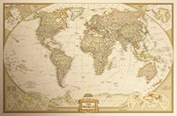 Amazon zekui retro world map paper poster wall map282x184 zekui retro world map paper poster wall gumiabroncs Images