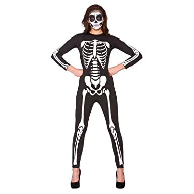 Skeleton Outfit Halloween.Adult Unisex Skeleton Jumpsuit Fancy Dress Up Party Halloween Costume Small