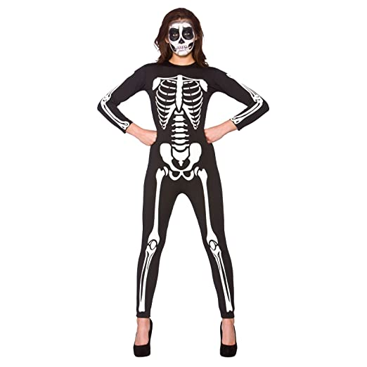 Adult Unisex Skeleton Jumpsuit Fancy Dress Up Party Halloween Costume - Medium