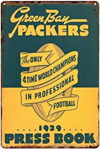 ZMKDLL Home Decoration Wall Art Pics 1939 Green Bay Packers Press Book Cover Football Sports Tin Sign Metal Wall Panel Retro Vintage Mural Dimensions 20x30 cm