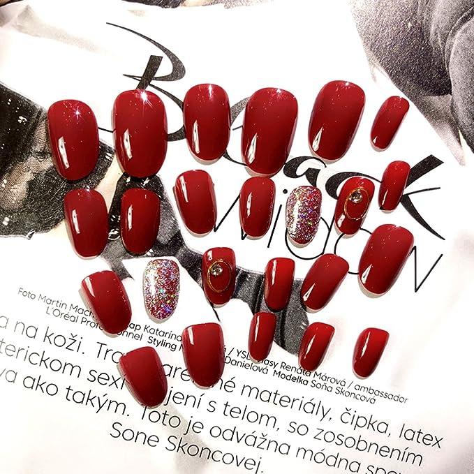 AiSi - 24 piezas de puntas de uñas postizas para decoración de uñas, para niñas, señoras, bodas, fiestas: Amazon.es: Belleza