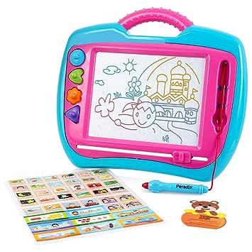 Peradix Pizarra Magica para Niños, Portátil Tablero Magnética Almohadilla Borrable de Escritura y Dibujo, con 4 Stampers Pluma Mágica para Doodle, ...
