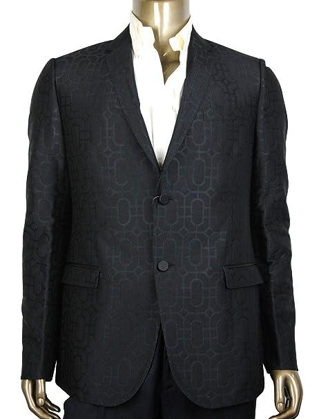 4bc85fdf12 Gucci Men's Emerald Jacquard Dylan 60 Black Wool Silk 2 Buttons ...