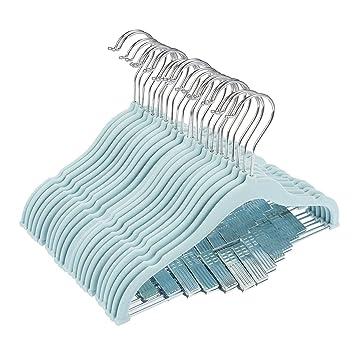 24 unidades perchas de terciopelo ropa de bebé con clips azul Ultra Thin No Slip Kids