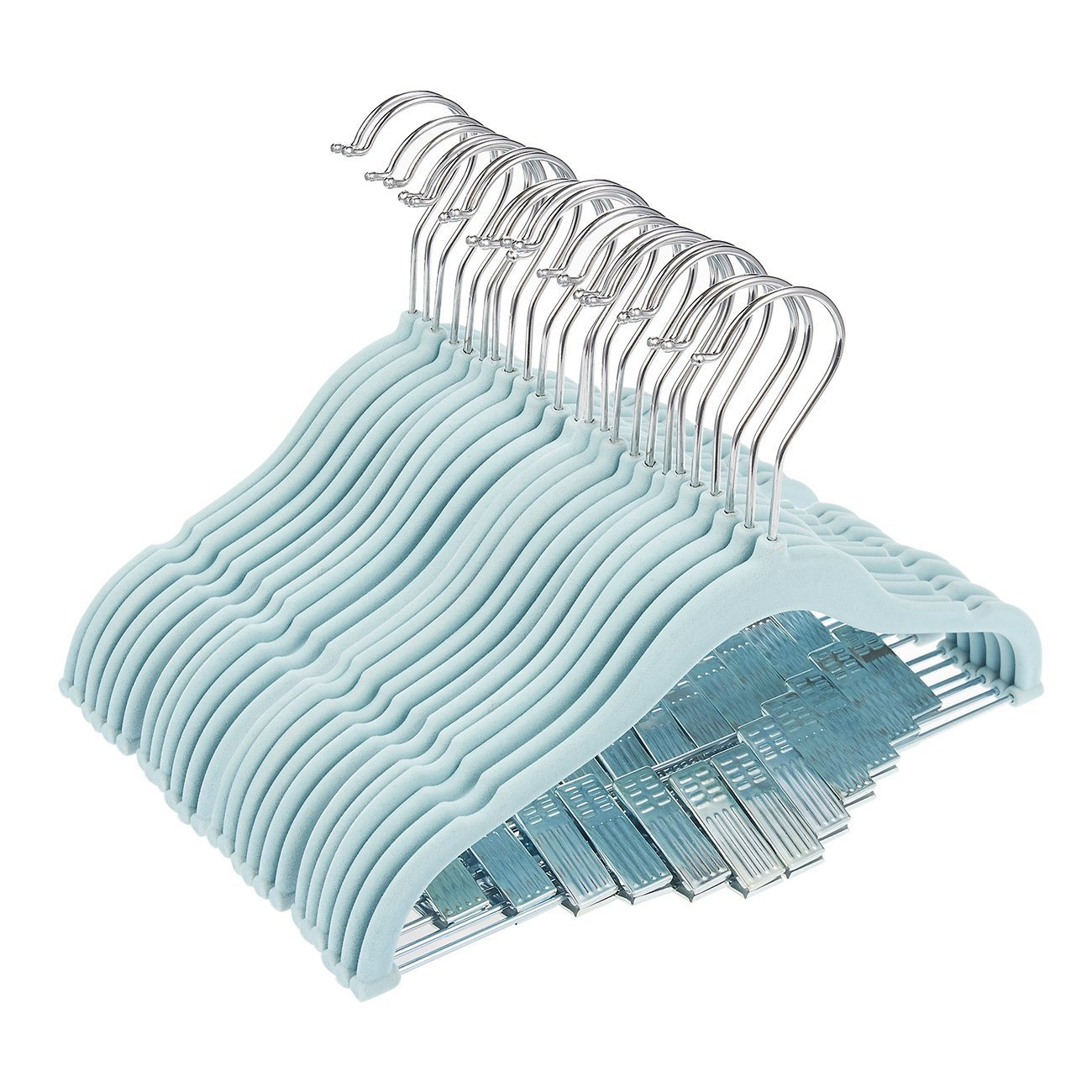 Juvale 24 Pack Baby Clothes Velvet Hangers with Clips Blue Ultra Thin No Slip Kids 12'' x 8''