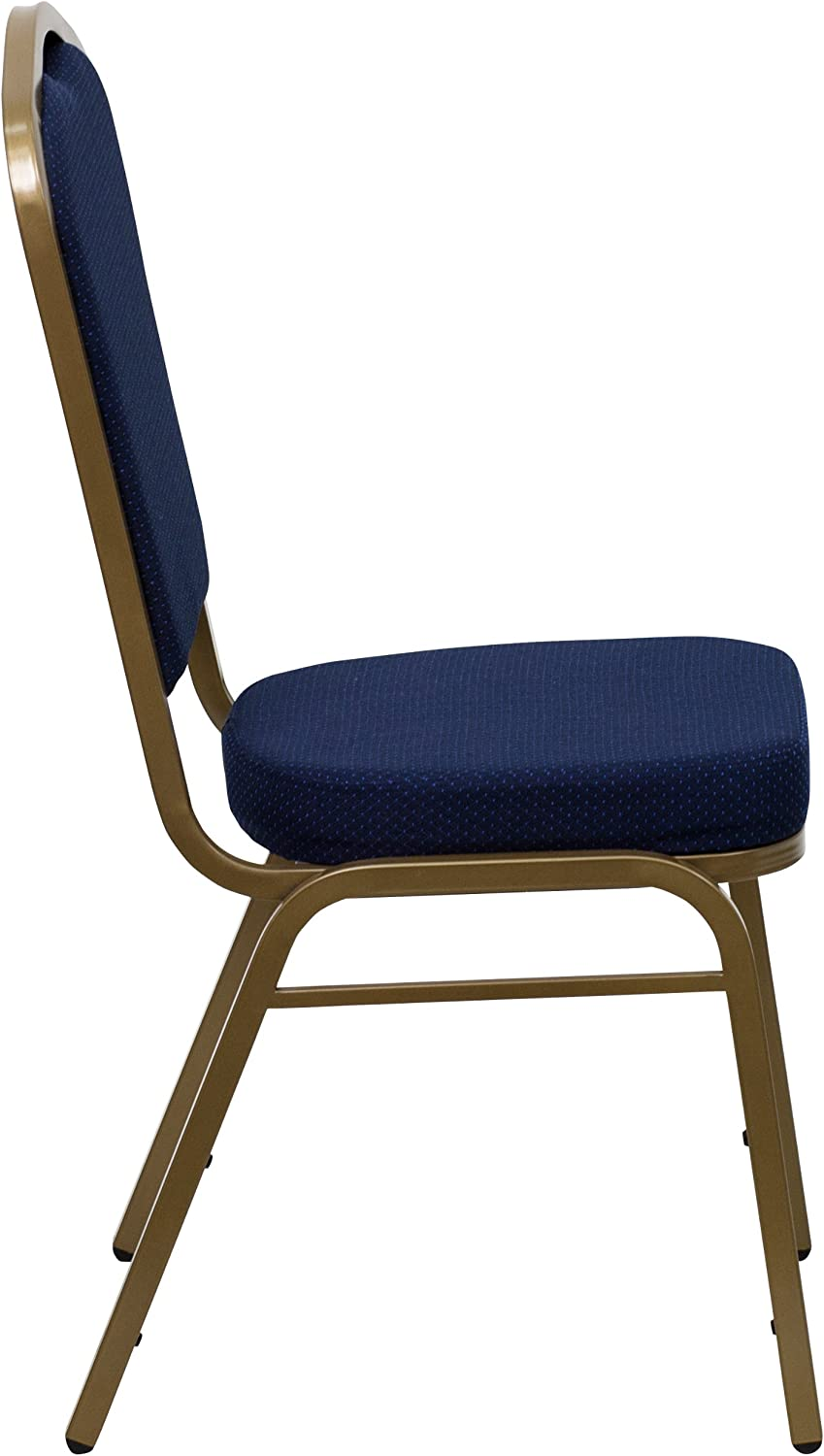 Flash Furniture 4 Pack HERCULES Series Crown Back Stacking Banquet Chair in Navy Blue Patterned Fabric Gold Frame