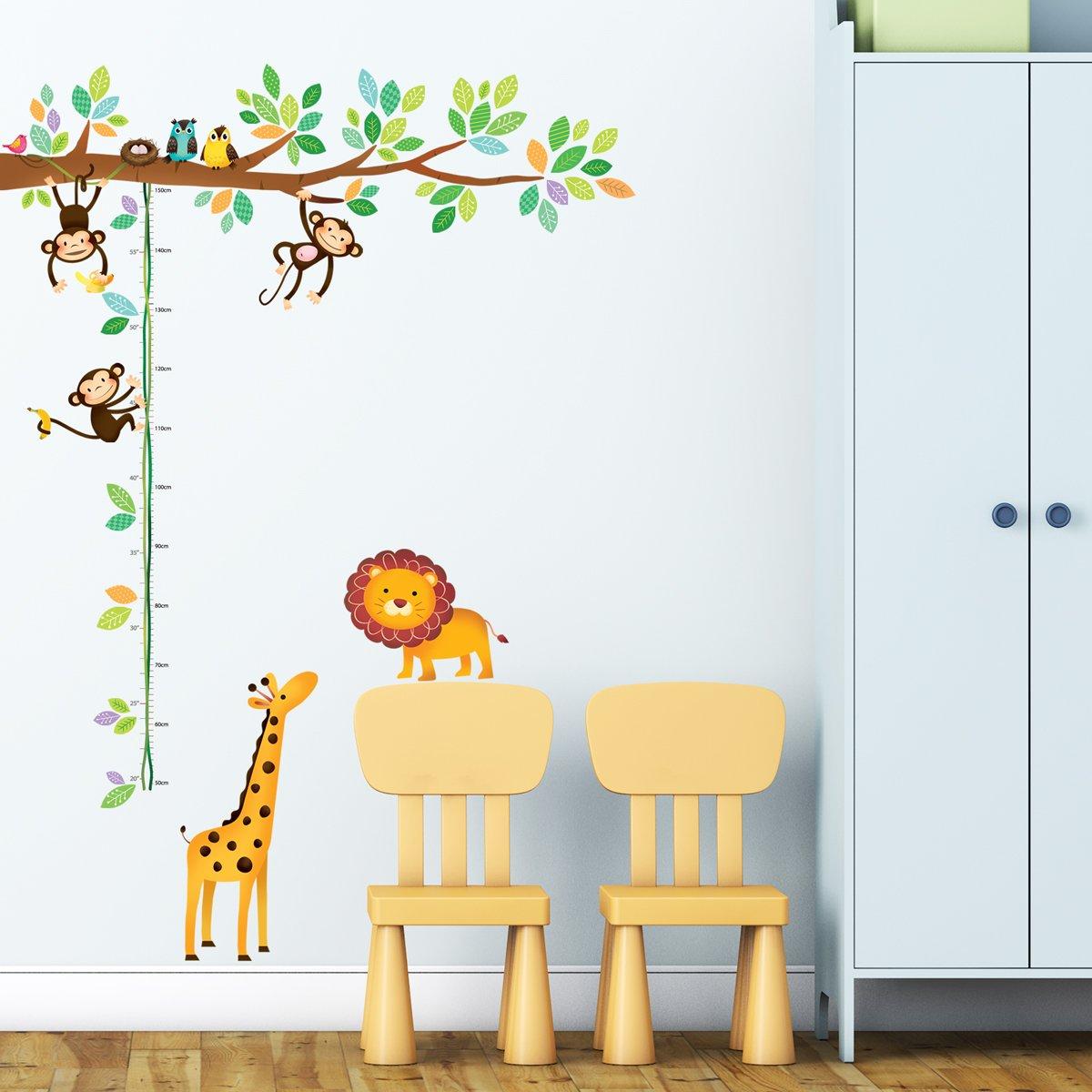 Decowall DW-1402 Albero con Scimmiette e Tabella di Altezza con Animali Adesivi da Parete Decorazioni Parete Stickers Murali Soggiorno Asilo Nido Camera da Letto per Bambini