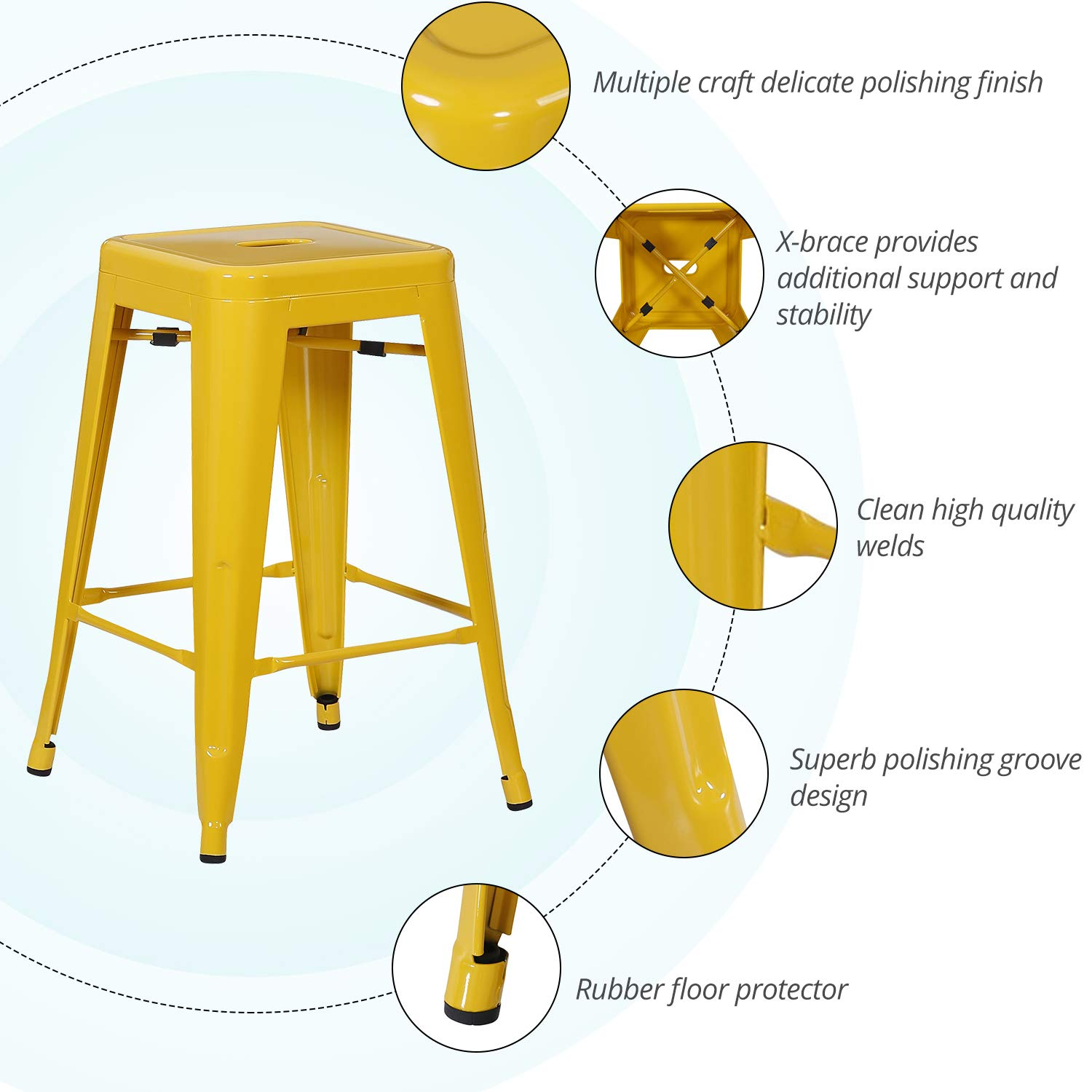 LCH 24 Metal Industrial Backless Bar Stools, Set of 4 Indoor Outdoor Counter Stackable Barstool, Mango Yellow
