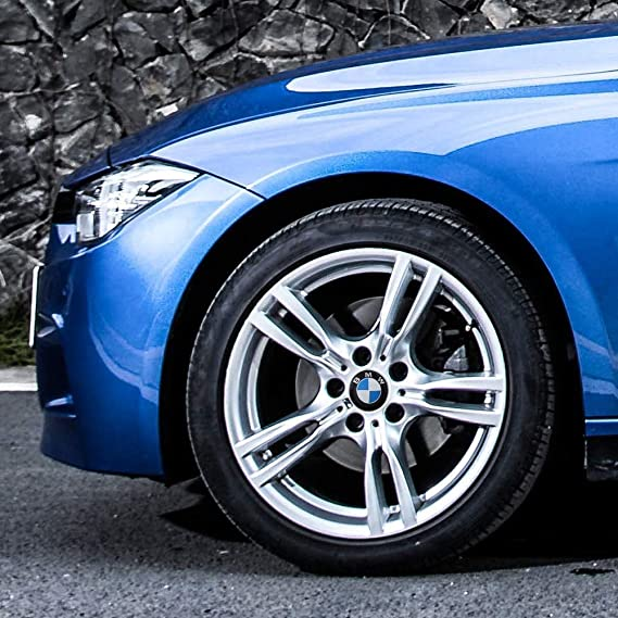 fit BMW XXX 9 Piece Set 56mm Car Wheel Center Cap Cover Logo Emblem Sticker for BMW Matching with Tire Valve Stem Caps and Keychain for BMW