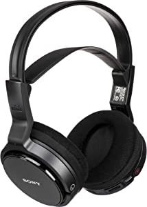 Sony MDR-RF912RK Over-Ear Wireless Radio Frequency Stereo TV Headphone System with 40mm Drivers, Noise Reduction and Long Wireless Range, Black (Non-Retail Packaging) (MDR-RF912RKCR) (Renewed)