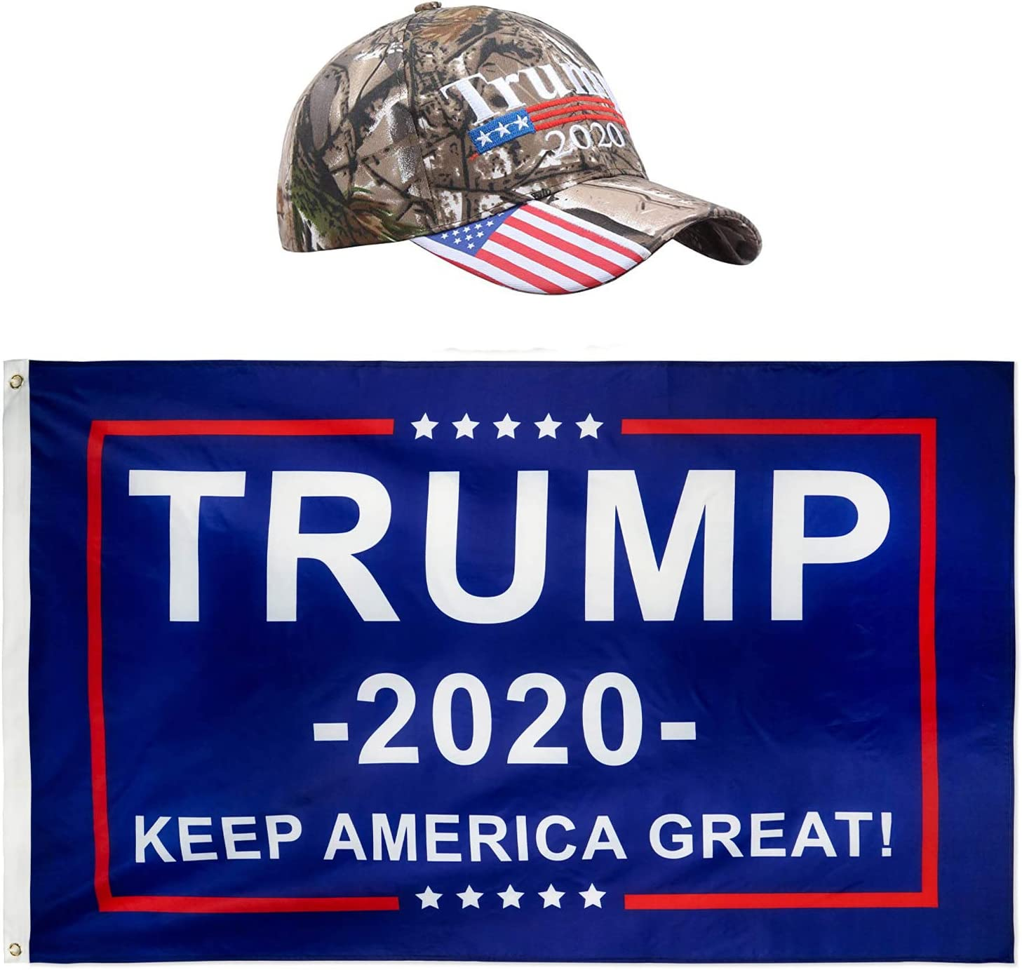 DFLIVE Donald Trump President 2020 Keep America Great Flag 3x5 FT and KAG Hat USA Adjustable Baseball Cap
