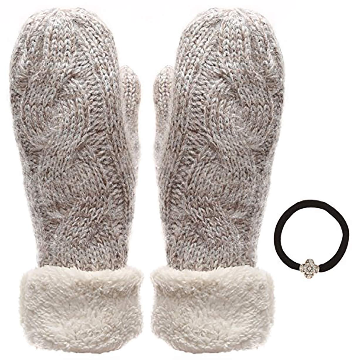 Women's Winter Warm Blend Cable Knitted Mitten Plush Lining Gloves with Hair Tie.(550, Ivory) by J Fashion Accessories