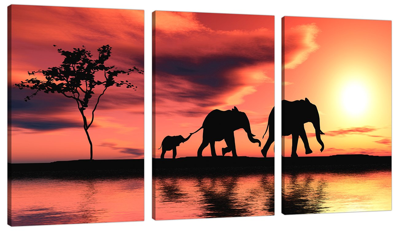 piece orange canvas art pictures africa elephants wall prints  -  piece orange canvas art pictures africa elephants wall prints amazoncouk kitchen  home
