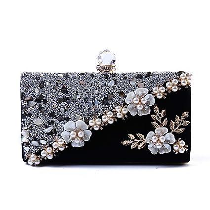 Cuentas de flores perlas embragues de cadena de perlas bolsos de noche bolso de diamantes de ...