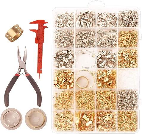 appr/êts de bijoux et perles bo/îte de rangement pour adultes et d/ébutants Kit de fournitures pour fabrication de bijoux pince /à bijoux 1 outil de r/éparation de bijoux avec accessoires
