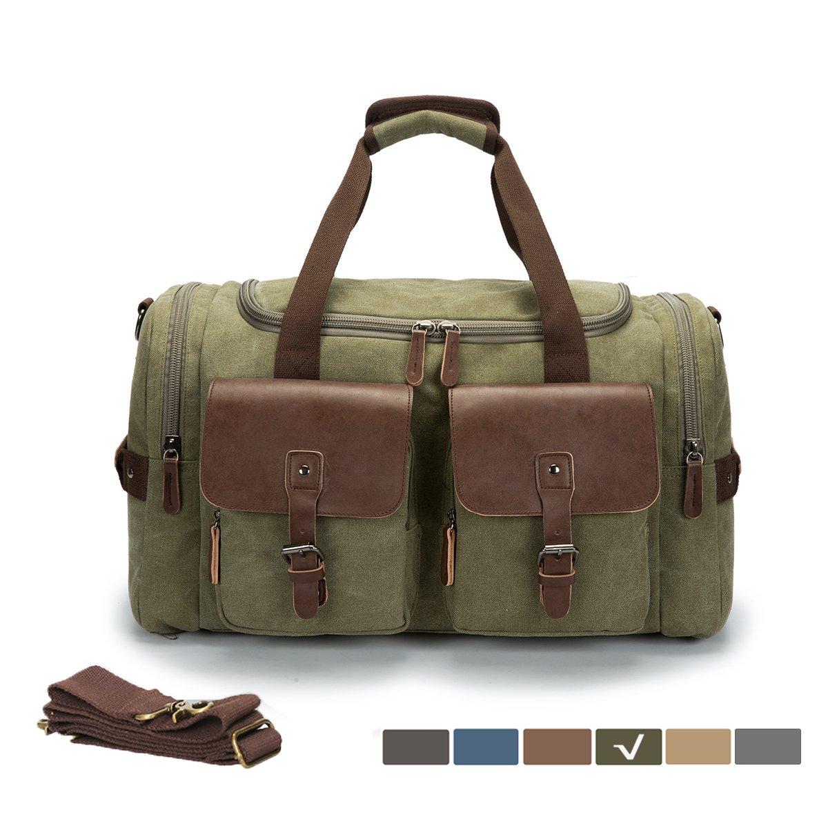 WULFUL Canvas Leather Travel Duffel Bag Oversized Luggage Overnight Bag Shoulder Handbag Weekend Bag