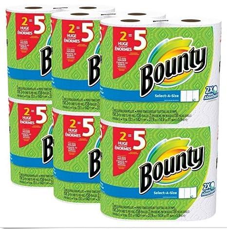 Toallas de papel de 2 x más absorbente Bounty select-a-size blanco 12