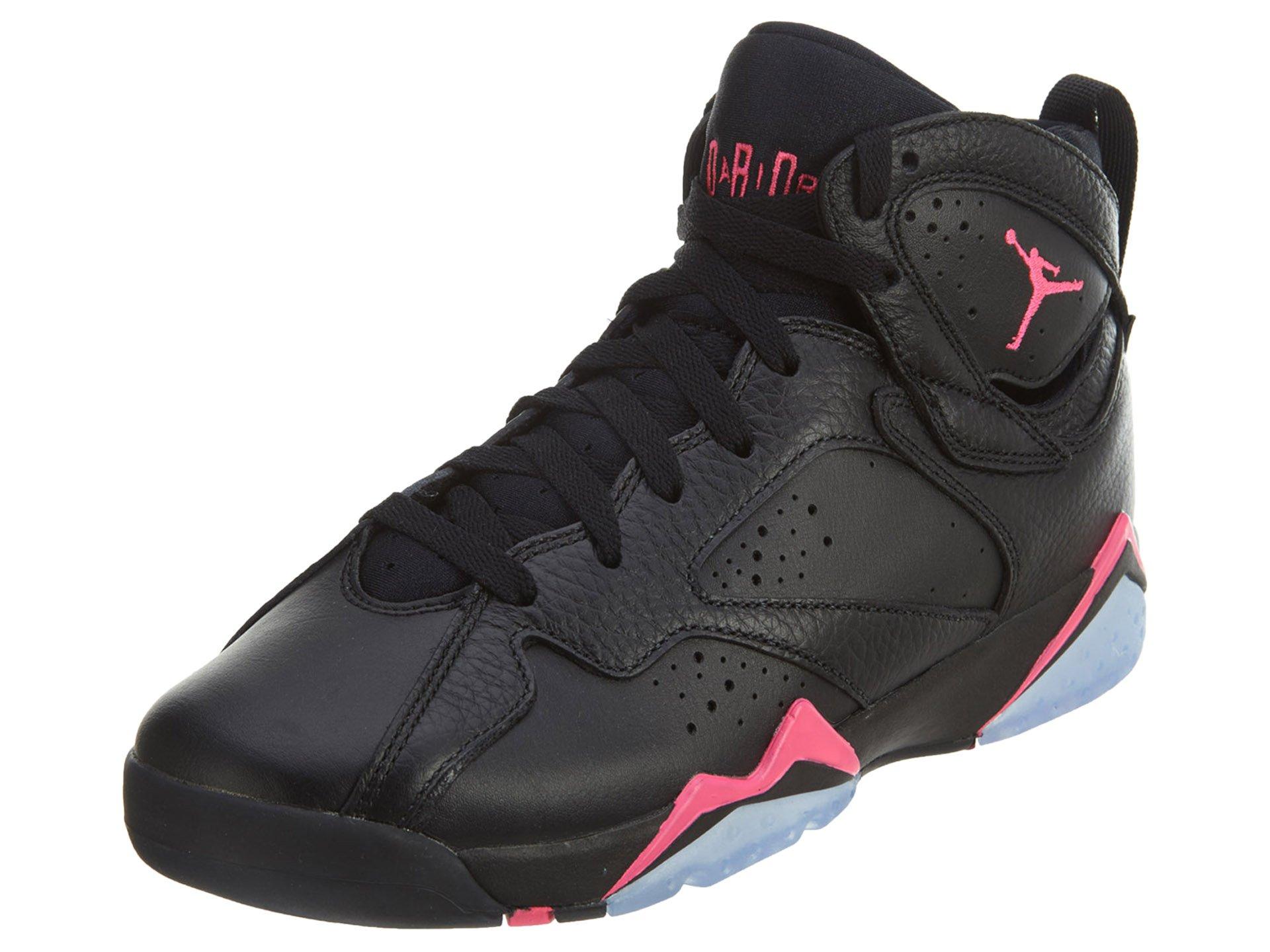 Jordan Nike Kids 7 Retro GG Black/HyperPink/Hyper Pink Basketball Shoe 4 Kids US by Jordan