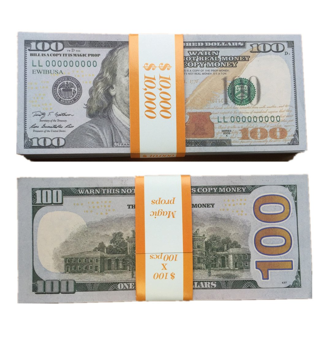1 total $20,000 Dollar bills $100 X 200 PCS COPY MONEY Double-Sided print Pretend play money Fake real money Great money games with children props movie money Magic props,fake money Prop toy money #F