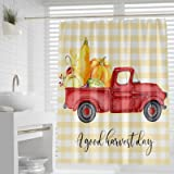 favonian Fall Fabric Shower Curtain for Bathroom, Pumpkins with Farm Truck Hotel Quality Bath Curtain Set with Hooks, 72 x72