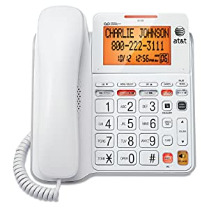 AT&T CL4940 Corded Standard Phone with Answering System and Backlit Display, White (Renewed)