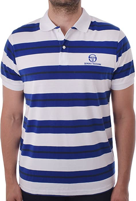 50299604c1c Sergio Tacchini Mens Ealing Block Stripe Short Sleeve Polo Shirt - Wht/Blu  - XXL