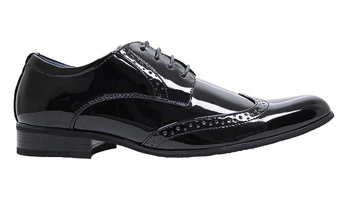 Scarpe francesine uomo class nero vernice linea classica man s shoes  eleganti cerimonia ... 69d22612441
