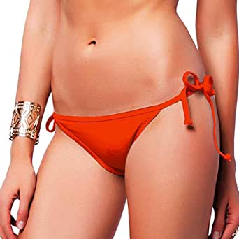 FITTOO Women's Sexy Low Cut Bikini Bottom Tie Sides Thongs Cheeky Booty T-Back Ladies Swimsuit