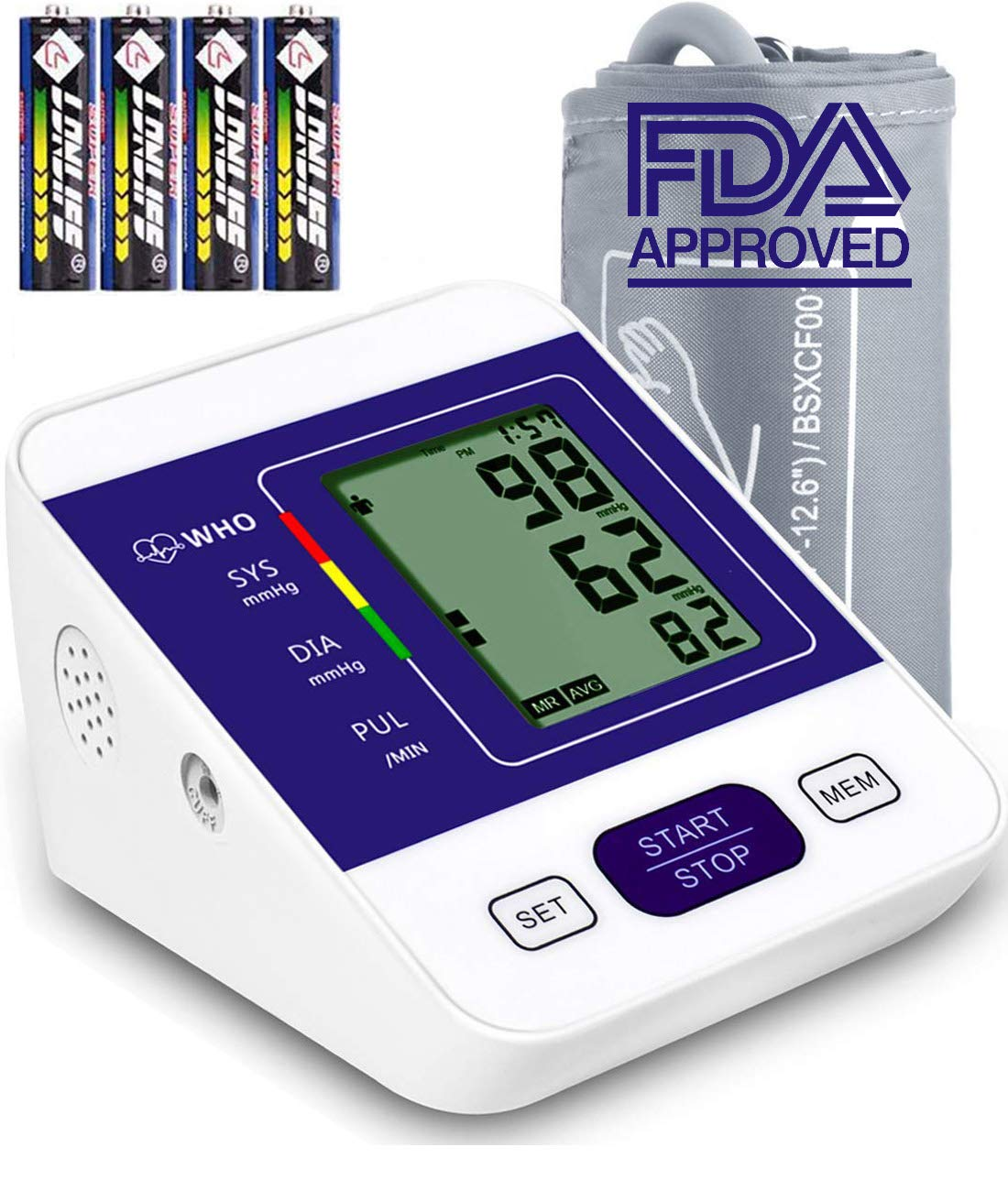 Blood Pressure Monitor Upper Arm RobotsDeal with Large LCD Display,Digital Upper Arm Automatic Measure Blood Pressure and Heart Rate Pulse,2 Sets of User Memories Battery Included Blue