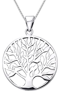 Amazon sterling silver tree of life necklace pendant with 18 jewelry trends sterling silver large celtic tree of life pendant on 18 inch box chain necklace aloadofball Choice Image