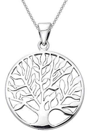 Jewelry Trends Sterling Silver Large Celtic Tree of Life Pendant on 22 Inch Box Chain Necklace