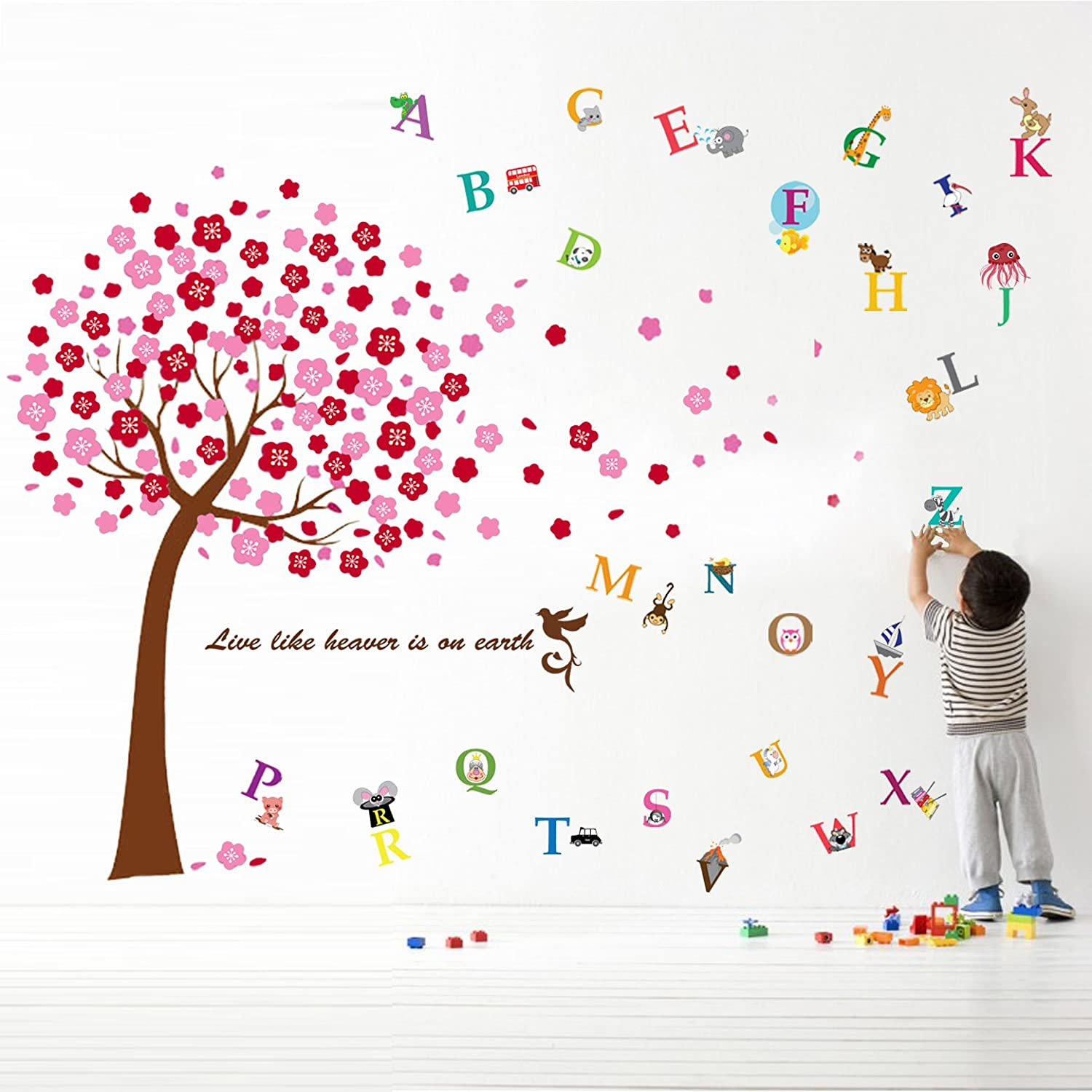 Pink Walplus Wall Stickers Cherry Flower Blossom Removable Self-Adhesive Mural Art Decals Vinyl Home Decoration DIY Living Bedroom Office D/écor Wallpaper Kids Room Gift
