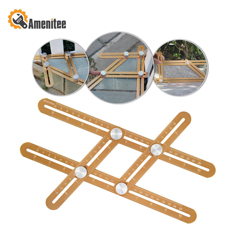 Amenitee Ultimate Irregular Shape Copy Tool - Universal Angularizer Ruler - Full Metal Multi Angle Measuring Tool-Ultimate Template Tool- the Buzz Digger Tool (CHAMPAGNE GOLD) by Amenitee