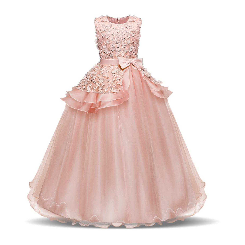 Acecharming Girls Floor Length Princess Dresses Kids Sleeveless Wedding Party Prom Ball Gowns Maxi Dress 71385-71610