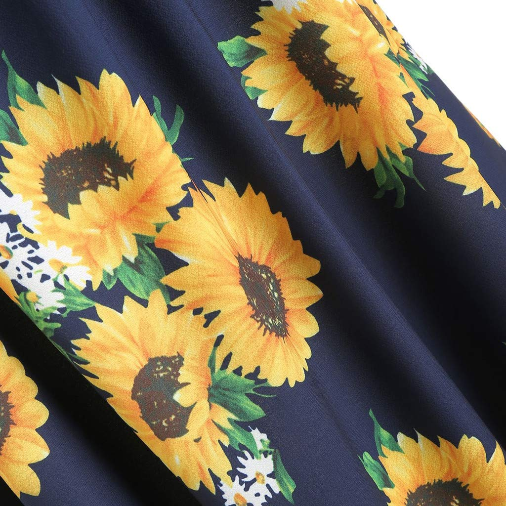 Navy,S MURTIAL Womens Short Sleeve Bow Knot Bandage Top Sunflower Print Mini Dress Suits
