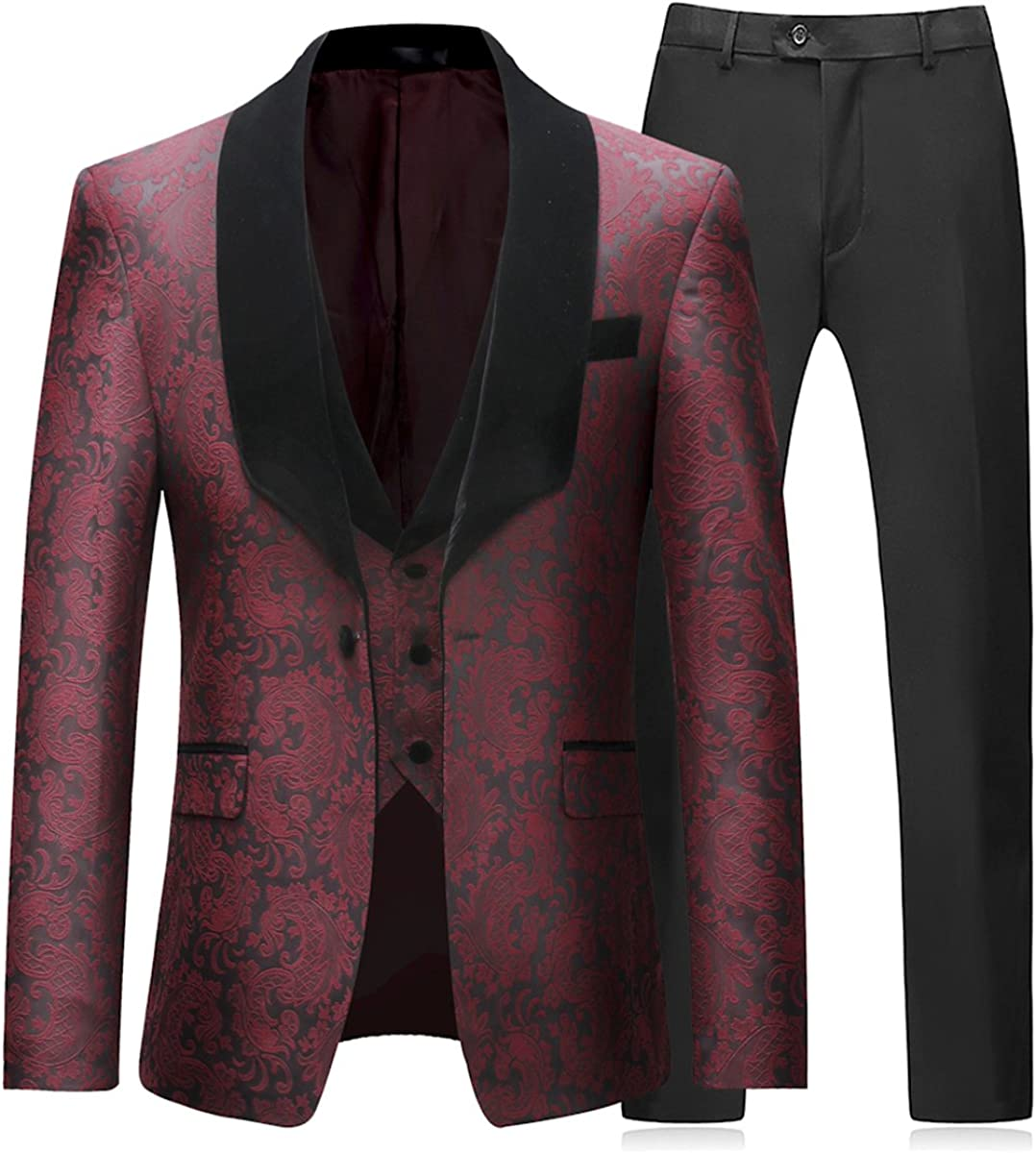Mens 3 Pieces Tuxedo Suit Black Gothic Suit Wedding Business Jacquard Shawl Lapel Tuxedo Blazer Waistcoat Trousers