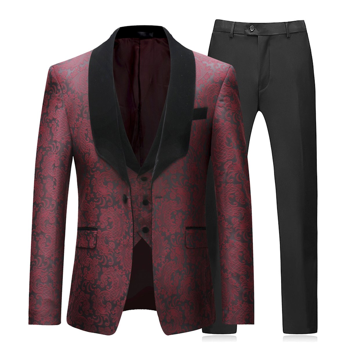 Boyland Mens 3 Piece Tuxedos Vintage Groomsmen Wedding Suit Complete Outfits(Jackets+Vest+Trousers) Burgundy by Boyland