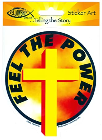 Tm bishop feel the power holy cross sticker decal