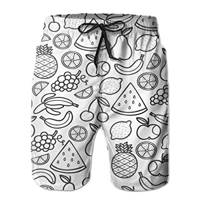Men's Quick Dry Swim Trunks Fruit Family Board Shorts With Pockets
