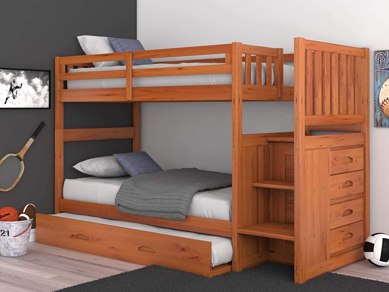 Discovery World Furniture Mission Twin Over Twin Staircase Bunk Bed with Trundle in Honey Finish
