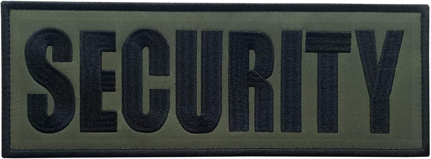 """uuKen Large Embroidery Fabric Cloth Security Patch Black and OD Green for Uniforms Vest and Tactical Clothing (Black and Green, XL 11""""x4"""")"""